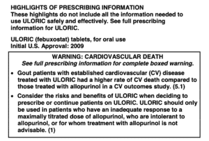 """Image of """"Boxed Warning"""" on Uloric for Cardiovascular Death."""
